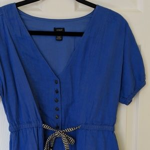 Vintage J. Crew Blue V-neck Dress with Striped Tie